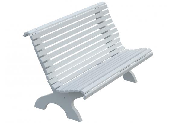 P Drevená lavica FRED 14 - biela