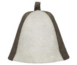 VITAU klobúk do sauny biela/šedá - vlna mix