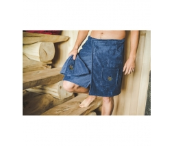 Kilt do sauny 100% bavlna, 55x150 pánsky - modrý